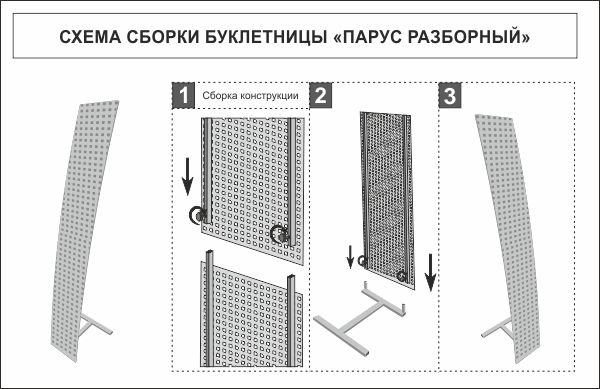 Схема сборки буклетницы Парус разборный / ПромоПРОСТО
